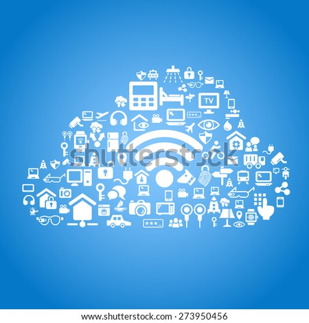 Internet of things and cloud computing concept - cloud outline by cloud computing and Internet of things concept icons - stock vector