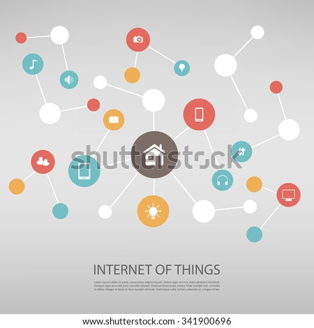 Internet Of Things Design Concept With Icons - stock vector