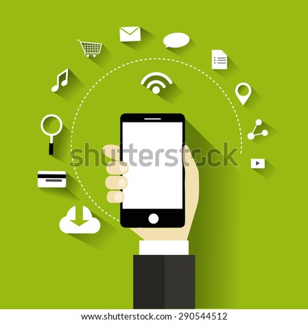 internet of things - digital marketing social media network illustration technology concept flat design vector