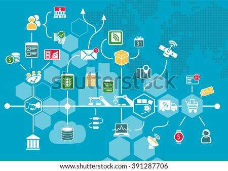 Internet of things (IOT) and digital business process automation concept supporting industrial value chain. Vector illustration as infographic. - stock vector