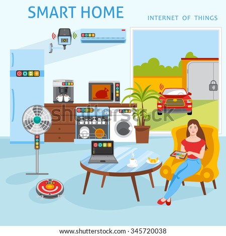 internet things iot smart home concept stock vector 345720038 shutterstock. Black Bedroom Furniture Sets. Home Design Ideas