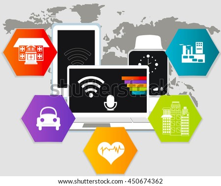 Internet of things. Modern technologies. Smart home, transport, health care, city,  industry - stock vector