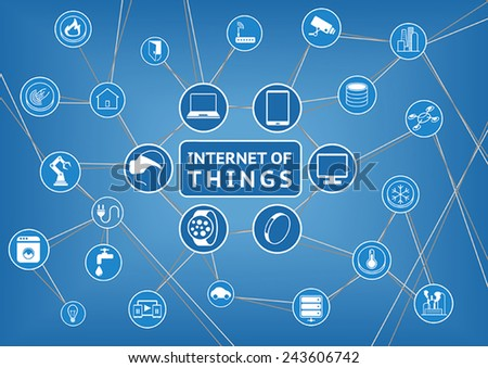 Internet of things represented by consumer and connected devices as vector illustration, objects are smart phone, smart thermostat, tablet, notebook, appliances, smart home, storage, servers and other - stock vector