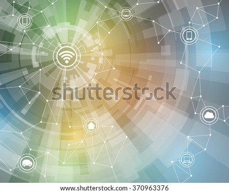 Internet of things, wireless sensor network, abstract image, vector illustration - stock vector