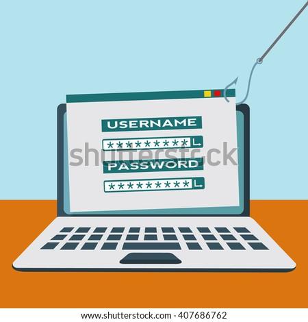 Internet phishing site, hacking, fraud vector concept - stock vector