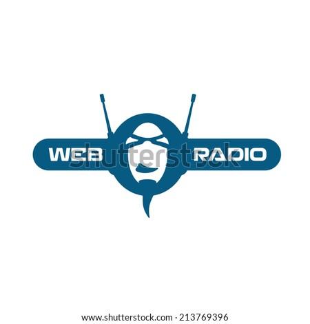 Internet radio logo - stock vector