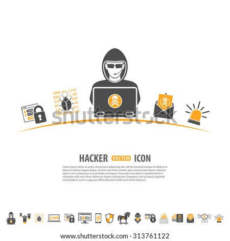 Internet Security Concept with Icon Set for Flyer, Poster, Web Site Like Hacker, Virus, Spam and Firewall. - stock vector