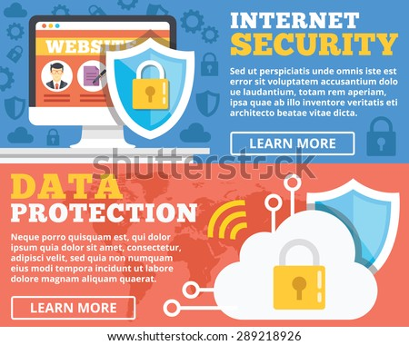 Internet security, data protection flat illustration concepts set. Flat design concepts for web banners, web sites, printed materials, infographics. Creative vector illustration - stock vector