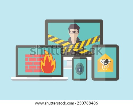 Internet security, hacker, virus protection and email spam. Flat design vector illustration. - stock vector