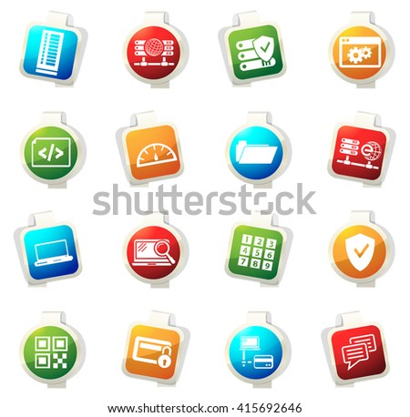 Internet, server, network stickers label icon set for web sites
