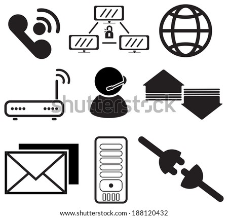 Internet service provider icons - stock vector