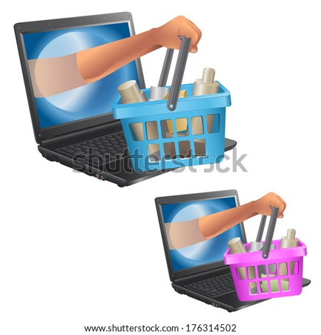 Internet shop. animation character. the isolated objects