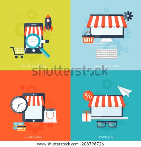 Internet shopping concept. E-commerce. Online store. Web money and payments. Pay per click. - stock vector