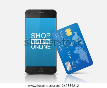 Internet shopping concept smartphone with credit card.vector - stock vector