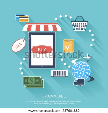 Internet shopping e-commerce concept smartphone with awning of buying products via on line shop store e-commerce ideas e-commerce symbols sale elements on stylish background - stock vector