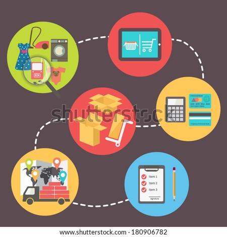 internet shopping, e-commerce, flat design vector icons set - stock vector