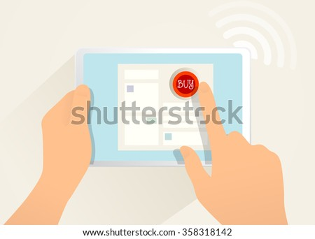 Internet shopping. Vector draw illustration. Isolated objects, computer, tablet, human hands.  - stock vector