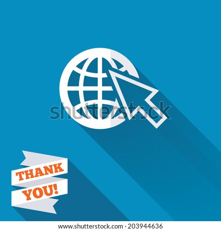Internet sign icon. World wide web symbol. Cursor pointer. White flat icon with long shadow. Paper ribbon label with Thank you text. Vector - stock vector