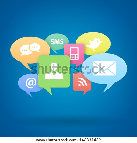 Internet social media concept on blue background. Isolated from background. Each icon in separately folder. vector illustration. - stock vector