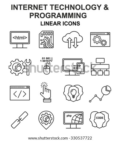 Internet technology and programming linear icons set. Html, php and code line style icons. - stock vector