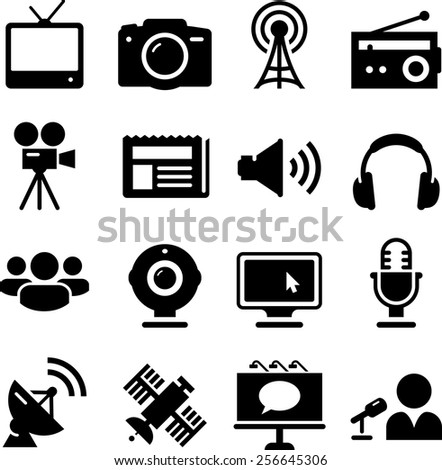 Internet, television, newspaper, and radio icon set. Vector icons for digital and print projects.
