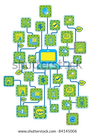 Internet Universal Networking link Green Ecology concept vector - stock vector