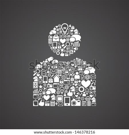internet user icons - stock vector