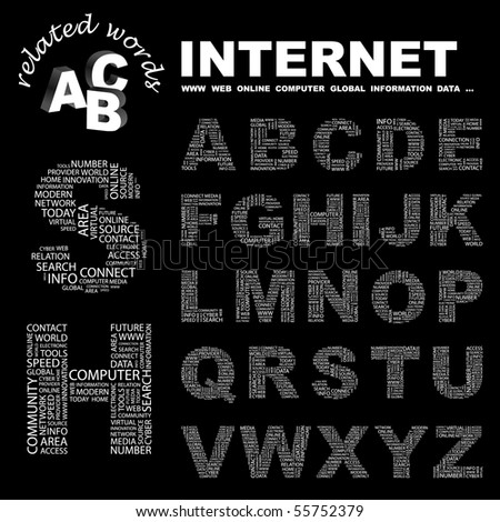 INTERNET. Vector letter collection. Illustration with different association terms. - stock vector