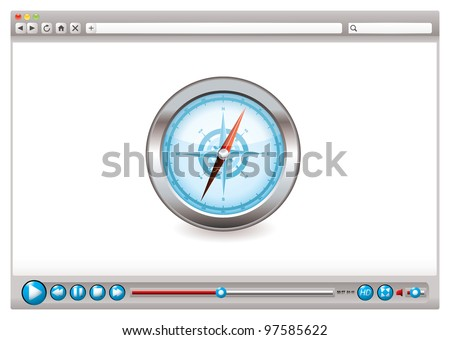 Internet web browser concept with compass navigation icon - stock vector