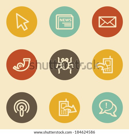 Internet web icon set 2, retro circle buttons - stock vector