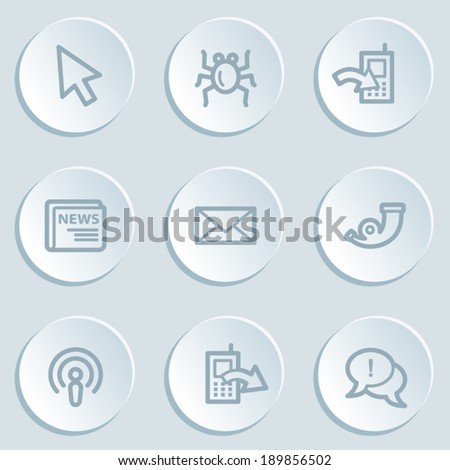 Internet web icon set 2 , white sticker buttons - stock vector