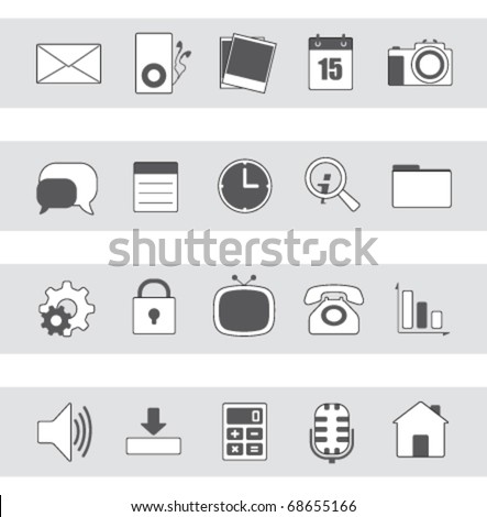 internet & web icons | grayscale series 01 - stock vector