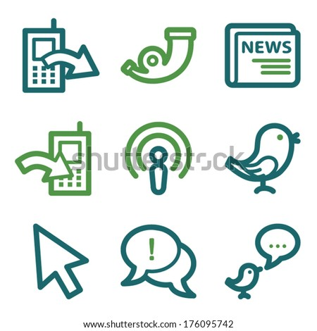 Internet web icons, green line set - stock vector