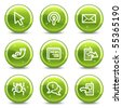 Internet web icons set 2, green glossy circle buttons series - stock vector