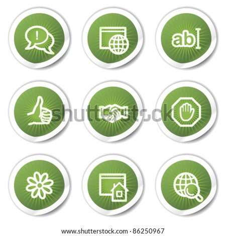 Internet web icons set 1, green  stickers - stock vector