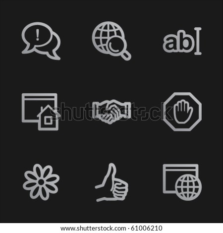 Internet web icons set 1, grey mobile style - stock vector