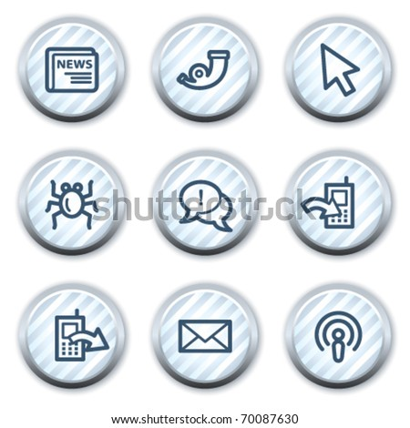 Internet web icons set 2, stripped light blue circle buttons - stock vector