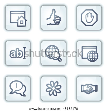 Internet web icons, white square buttons series