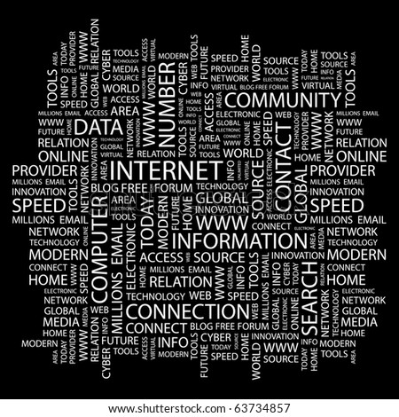 INTERNET. Word collage on black background. Illustration with different association terms. - stock vector
