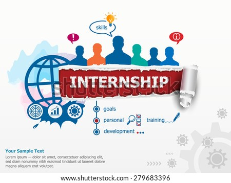 Internship concept and group of people. Flat design illustration concepts for business, consulting, finance, management, career, human resources. - stock vector