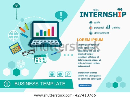 Internship concepts of words learning and training. Internship flat design banners for website and mobile website, easy to use and highly customizable.