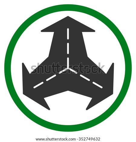 Intersection Directions vector icon. Style is bicolor flat circled symbol, green and gray colors, rounded angles, white background.