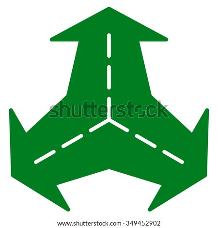 Intersection Directions vector icon. Style is flat symbol, green color, rounded angles, white background.