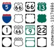 Interstate and US Route signs including famous Route 66 - stock photo