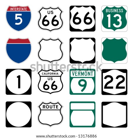 Interstate and US Route signs including famous Route 66 - stock vector