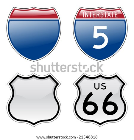 Interstate and US Route 66 signs with glossy effect - stock vector