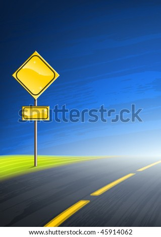 Interstate highway and an empty yellow road sign with space for text - stock vector
