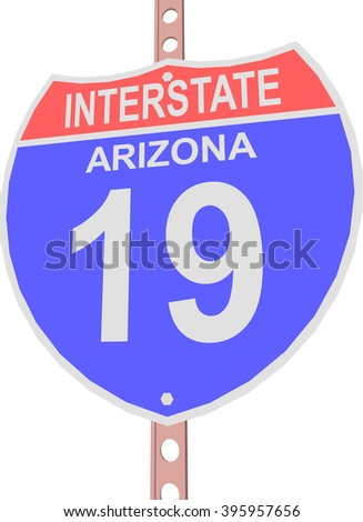 Interstate highway 19 road sign in Arizona