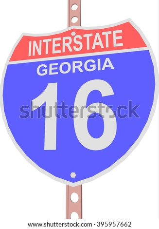 Interstate highway 16 road sign in Georgia