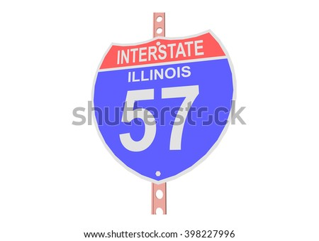 Interstate highway 57 road sign in Illinois - stock vector
